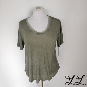 Abound T-Shirt Tee Shirt Green Distressed Tie Dye